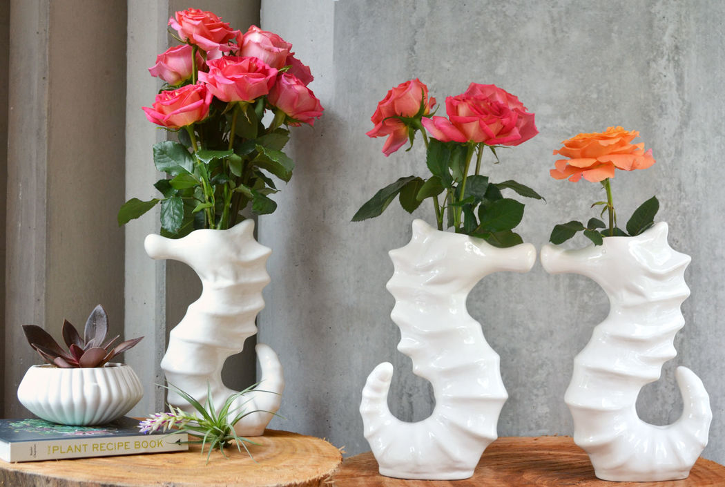 Florero en cerámica perfecto para centros de mesa en eventos especiales! Ref. FLORERO CABALLITIO * Plantas naturales * Cerámica Hecha a Mano