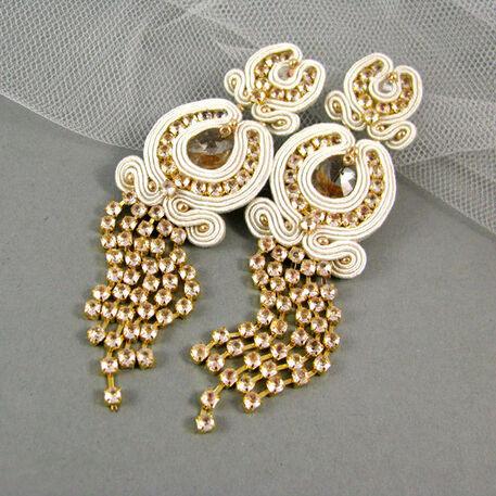 Małgorzata Sowa - PiLLow Design, Biżuteria ślubna sutasz. Kolczyki - kryształy Swarovski, taśma cyrkoniowa, srebro
