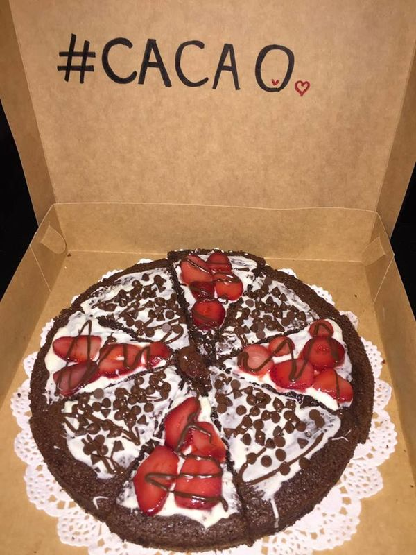 Cacao brownie-pizza