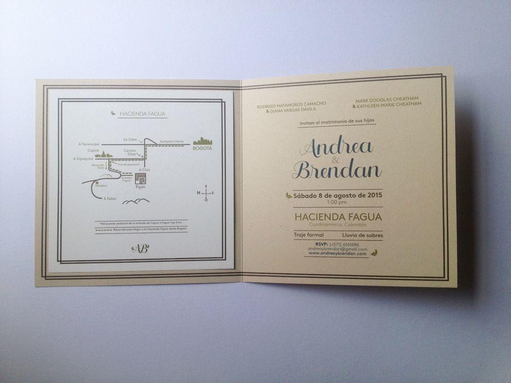 Diseño gráfico del interior de la invitación.