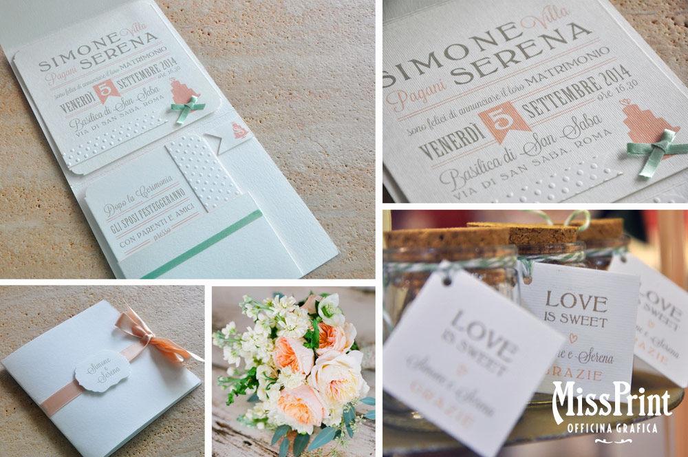 Wedding stationary Sweet Love: partecipazione a folder, libretto messa  e tag per barattolini