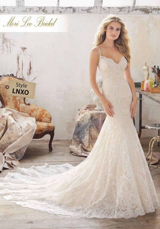 Dress style LNXO Malia Wedding Dress Available in Three Lengths: 55″, 58″, 61″. Colors Available: White, Ivory, Ivory/Light Gold. Shown in Ivory/Light Gold.