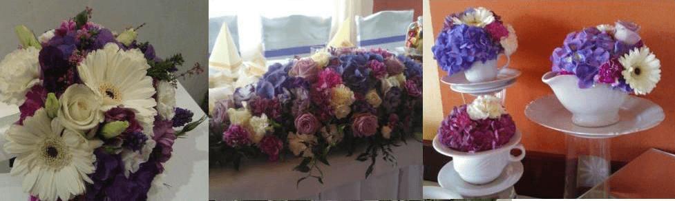 bukiet w odcieniach fioletu,kompozycja na stół Młodej Pary i dekoracja stołu kawowego