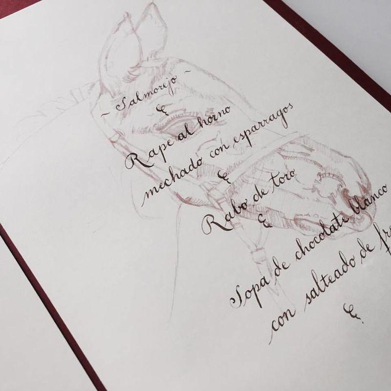 Minuta a caligrafía con plumilla