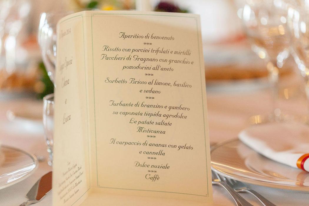 Menù personalizzato, curato dalla cucina interna di Villa Conti Cipolla