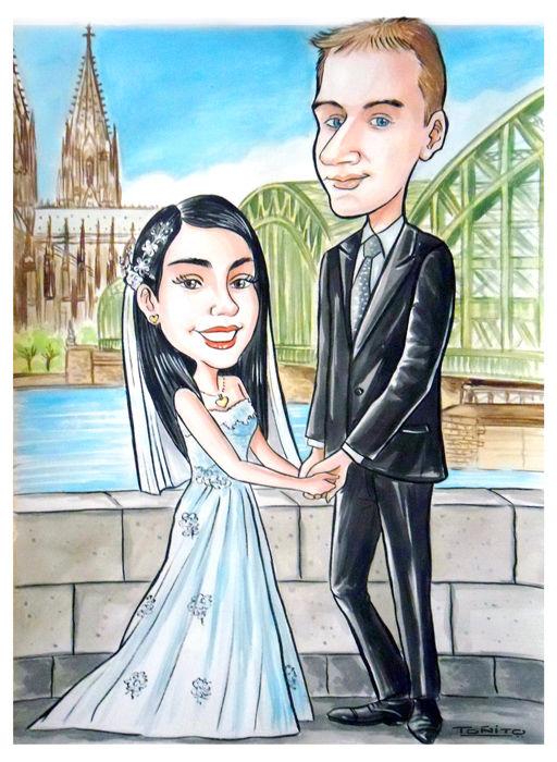 Caricatura por encargo de novios para recordatorio en matrimonio,realizada en acuarelas sobre cartulina