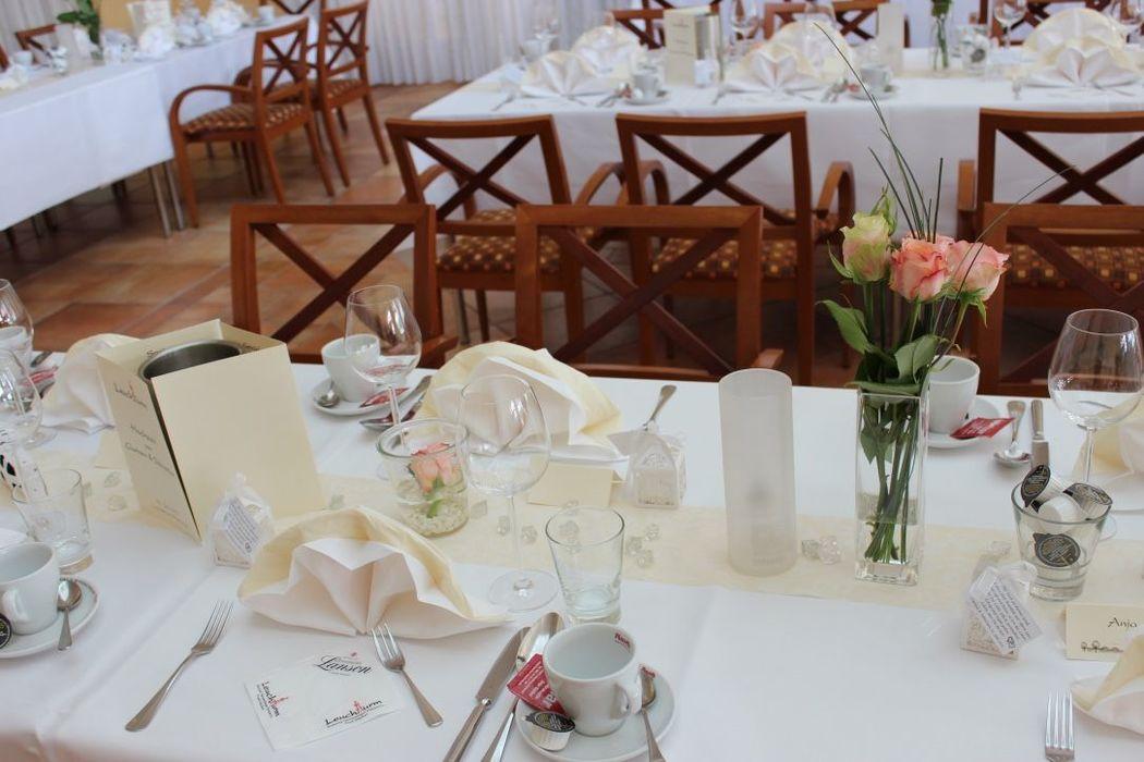 Beispiel: Leuchtturm-Tischdekoration, Foto: Restaurant Leuchtturm.