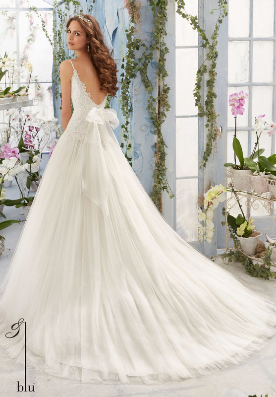 Dress Style AINX Embroidered Bodice With Satin Shoulder Straps On Soft Net Ball Gown  Removable Beaded Organza Tie Sash. Colors available: White, Ivory, Ivory/Blush.