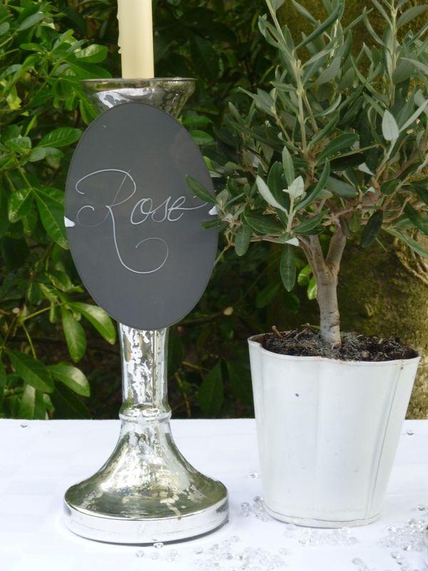 Nom de table Plexiglas calligraphié blanc 15cm/10cm