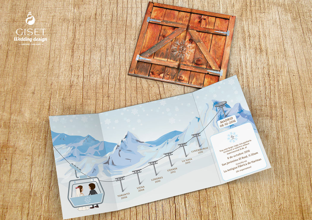 Invitaciones en ventana con ilustraciones invernales