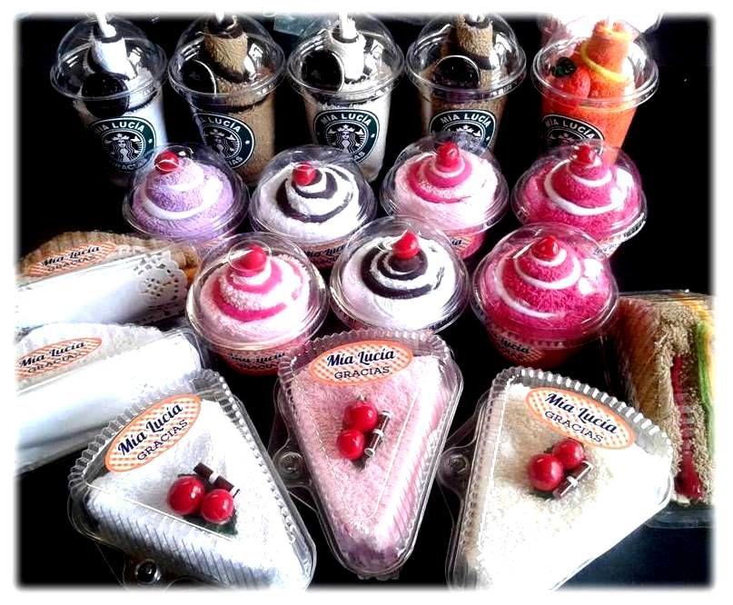 Vaso ,cheesecake cupcake de toallas