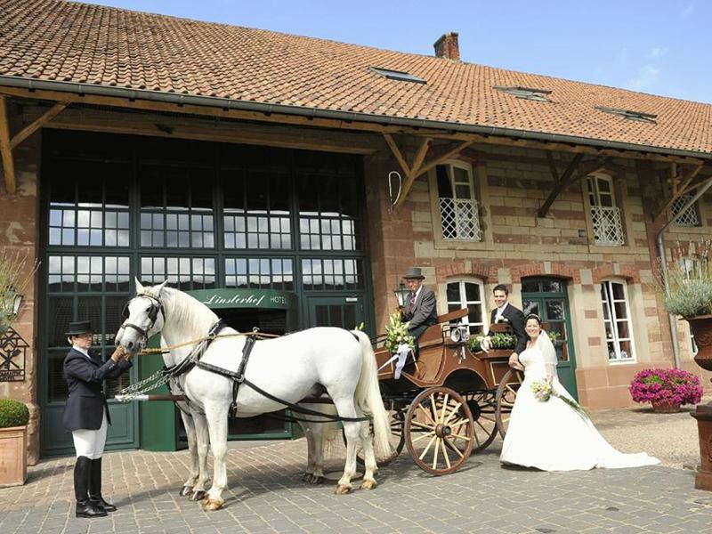 Beispiel: Brautpaar mit Hochzeitskutsche, Foto: Romantik Hotel Linslerhof.