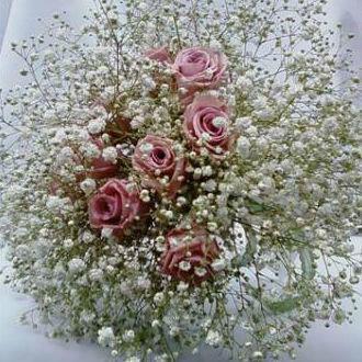 Flor de Cór  - buquê de mosquitinhos frescos com rosas naturais preservadas