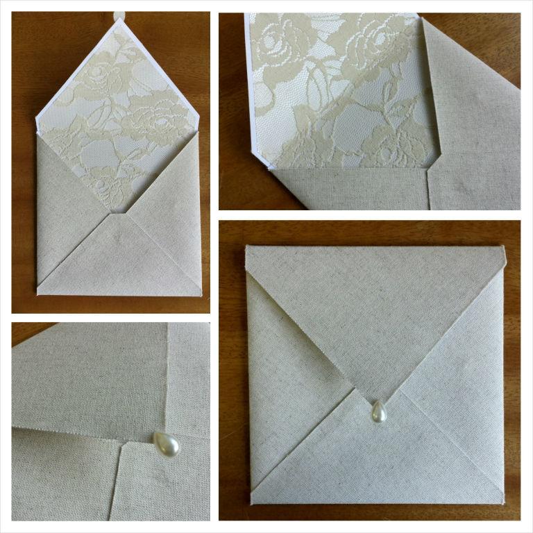 Convite com envelope clássico 16x16cm em linho rustico e aplicação de renda cru na parte interna, finalização com meia pérola em formato de gota.